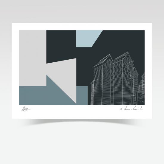 Hastings Net Huts Abstract (Print)
