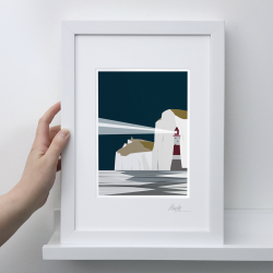 A4 Frame: Beachy Head Night Print