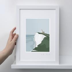 A4 Frame: Belle Tout Lighthouset Print