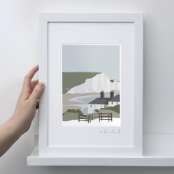 A4 Frame: Coastguard Cottages Seven Sisters Print