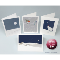 4 Winter Themed Greetings Cards