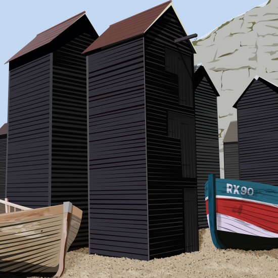 Hastings Net Huts (Print)
