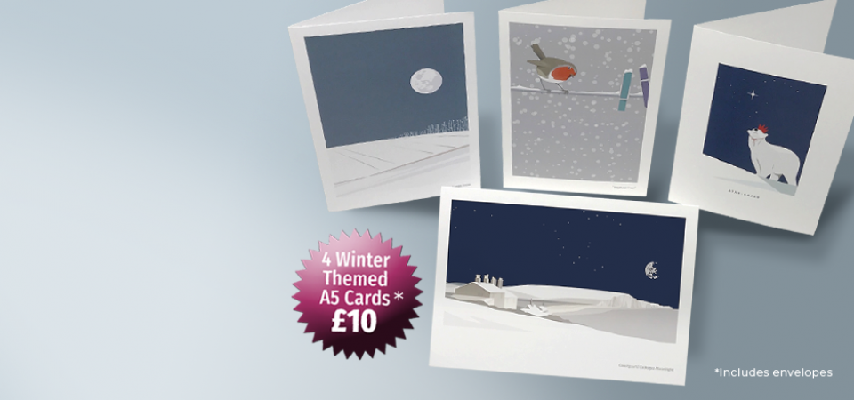 Winter themed set of 4 Greetings Cards